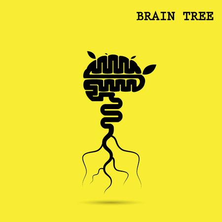 Creatieve brein boom abstract vector logo design template.Corporate bedrijf industriële creatieve logo symbol.Brain boom symbool, boom van kennis, milieu, onderwijs of bedrijfsconcept.Vectorillustratie illustratie