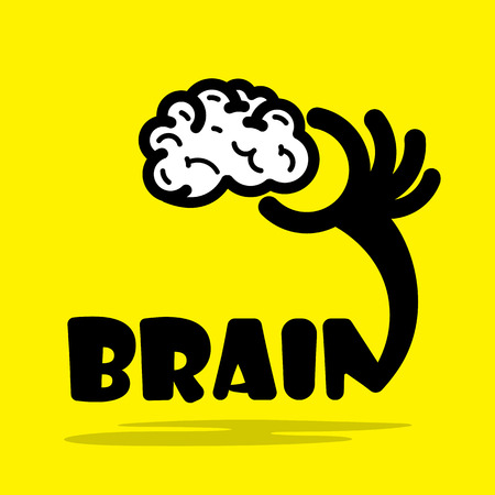 Creative brain sign idea,flat design.Concept of ideas inspiration, innovation, invention, effective thinking, knowledge and education. Business and concept and businessman hand.Vector illustration