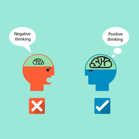 negative thinking: Businessman symbol and Positive thinking with Negative thinking concept .Creative brain sign idea,flat design.Concept of ideas inspiration, innovation, invention, effective thinking,business,knowledge and education.Vector illustration