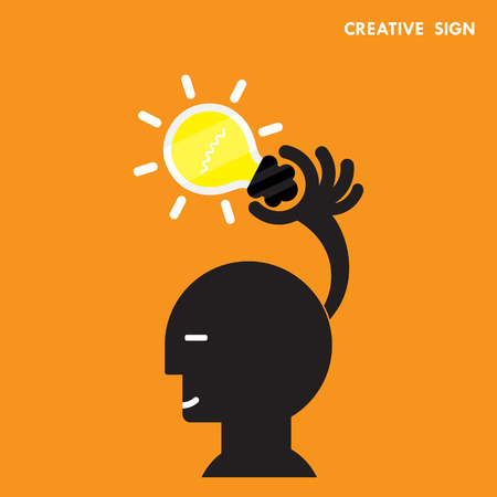 cabeza: Cabeza y la idea de la bombilla creativo, design.Concept plana de ideas inspiraci�n, innovaci�n, invenci�n, pensamiento efectivo, el conocimiento y la educaci�n. Negocios y el concepto y el empresario hand.Vector ilustraci�n