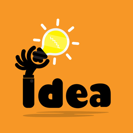 Creative bulb light idea,flat design.Concept of ideas inspiration, innovation, invention, effective thinking, knowledge and education. Business and concept and businessman hand.Vector illustration