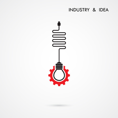 gears: Creative light bulb and gear abstract vector design banner template. Corporate business industrial creative logotype symbol.Vector illustration