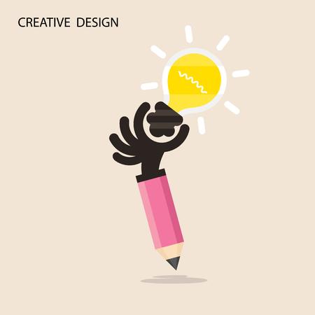 pensando: Idea creativa bombilla y el icono de la mano l�piz, design.Concept plana de ideas inspiraci�n, innovaci�n, invenci�n, pensamiento efectivo. Negocios, el conocimiento y la educaci�n concept.Vector ilustraci�n