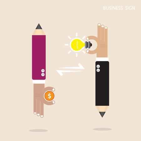 intelligent partnership: Creative pencil businessman hand sign with creative light bulb sign and business idea concept, business&finance design elements. Flat Design Vector illustration