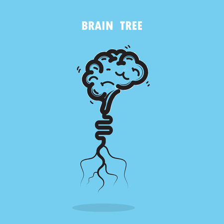 educacion ambiental: Árbol cerebro creativo vector logo abstracto design.Corporate negocio industrial creativa símbolo del árbol logotype.Brain, árbol de la ciencia, el medio ambiente, la educación o ilustración Concepto de negocio
