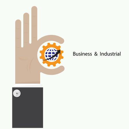 Businessman hand shows target symbol as business concept. Ok hand sign. Business and vision concept. Company logo,hand Ok symbol icon. Creative logo design template,design element. Vector illustration Illustration
