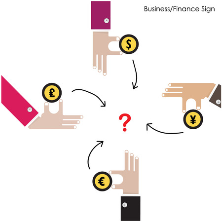 monetary concept: Businessman hand with money icon. Businessfinancial  and money invest concept. Monetary finance conceptual. Business design elements. Flat Design Vector illustration Illustration