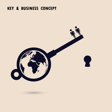 teamwork cartoon: Two businessman with world key symbol. Global business solution concept. Flat design vector illustration
