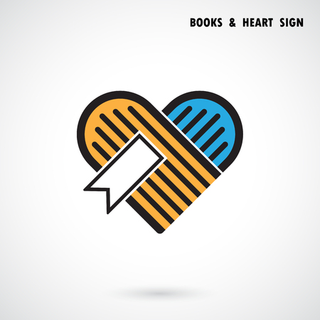 Creative book and heart abstract vector logo design.Book Store and library vector logo design.Learning,study idea icon.Love Books Heart symbol.Corporate education or business creative logotype concept. Vector illustration