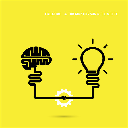Creative brainstorm concept business and education idea, innovation and solution, creative design, vector illustration