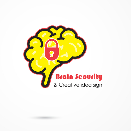 generate: Creative brain security abstract vector logo design template. Generate idea. Brainstorming logotype concept icon. Education,technology,science,industrial and business creative logotype idea concept. Vector illustration Illustration