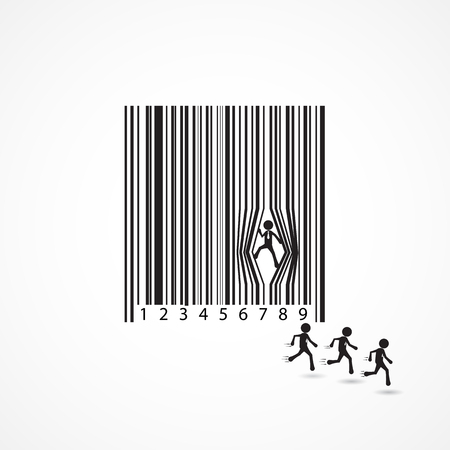 flee: Businessman sign with dilapidation barcode.Escape,flee,lift,move,force,prise,prize,cartoon,business concept.Vector illustration. Illustration