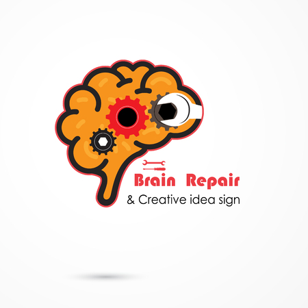 generate: Creative brain repair abstract vector logo design template. Generate idea. Brainstorming logotype concept icon. Education,technology,science,industrial and business creative logotype idea concept. Vector illustration