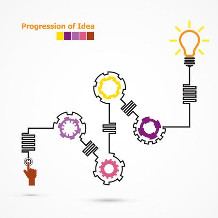 progression: Creative light bulb symbol with linear of gear shape. Progression of idea concept. Business, education and industrial idea. Vector illustration