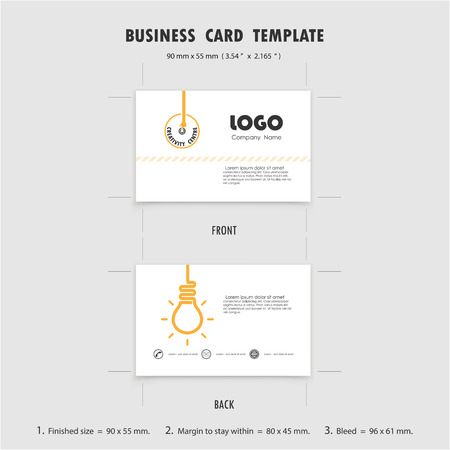 50mm: Abstract Creative Business Cards Design Template, Size 90mmx55mm (3.54 in x 2.165 in). Name Cards Symbol. Vector illustration