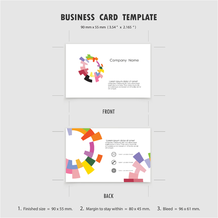 sign: Abstract Creative Business Cards Design Template, Size 90mmx55mm (3.54 in x 2.165 in). Name Cards Symbol. Vector illustration