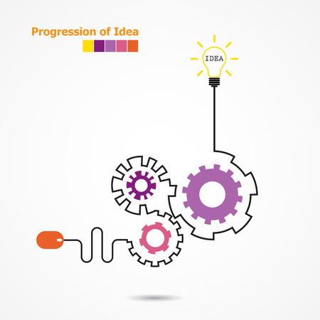 개념: 크리 에이 티브 전구 아이디어 개념 및 컴퓨터 마우스 기호. 아이디어 개념의 진행. 비즈니스, 교육, 산업 아이디어. 벡터 일러스트 레이 션