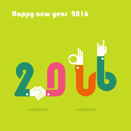 happy new year banner: Happy New Year 2016.Colorful greeting card design.Vector illustration for holiday design. Party poster, greeting card, banner or invitation template.
