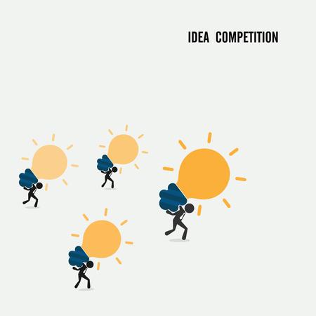 piggyback: Idea competition idea concept. Business cartoon idea symbol.Vector illustration