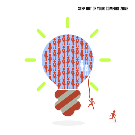 easiness: Step out of your comfort zone idea concept. Business cartoon idea symbol.Vector illustration Illustration