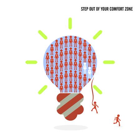 comfort: Step out of your comfort zone idea concept. Business cartoon idea symbol.Vector illustration Illustration