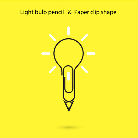 ideograph: Creative light bulb pencil logo design,Paper clip sign.Concept of ideas inspiration, innovation, invention, effective thinking, knowledge. Business and Education concept.Vector illustration Illustration