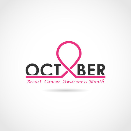 Breast cancer awareness logo design. Breast cancer awareness month icon.Realistic pink ribbon. Vector illustration Illustration