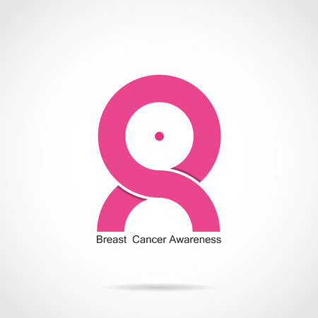 cancer de mama: El cáncer de mama diseño del logotipo de la conciencia. El cáncer de mama mes de la conciencia, cinta del rosa icon.Realistic. Ilustración vectorial Vectores