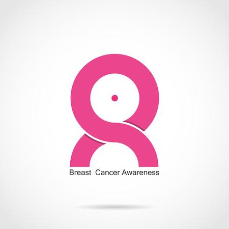 rak: Rak piersi świadomość, projektowanie logo. Miesiąc świadomości raka piersi wstążka różowy icon.Realistic. Ilustracji wektorowych