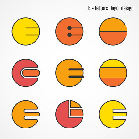 e card: Creative E letters icon abstract logo design vector template. Corporate business card and education creative logotype symbol.Vector illustration
