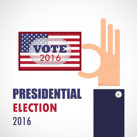 voter registration: Voting concept.Businessman hand and voting paper with america presidential election 2016.Vector illustration