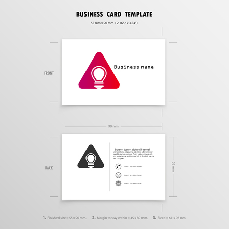Abstract Creative Business Cards Design Template. Name Cards Symbol.  Size 55 mm x 90 mm (2.165 in x 3.54 in).Vector illustration