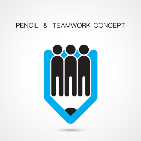 coalition: Creative pencil and people icon abstract logo design vector template. Corporate business creative logotype symbol. Vector illustration