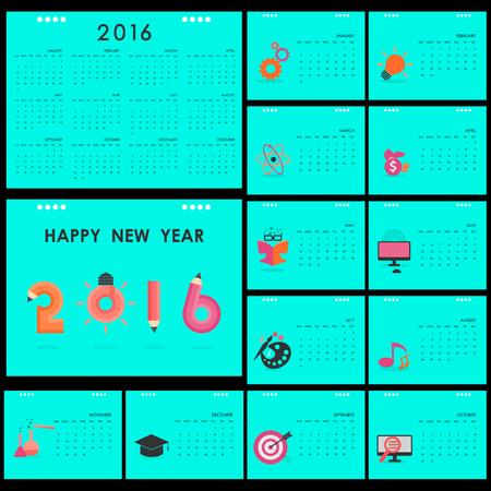 desk calendar: Desk Calendar 2016 Vector Design Template.Set of 12 Months.Week Starts Sunday.Education and business concept.