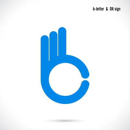 Creative B letter icon abstract logo design vector template.Letter B fingers vector sign.Hand Ok symbol icon.Corporate business and education creative logotype symbol.Vector illustration  イラスト・ベクター素材