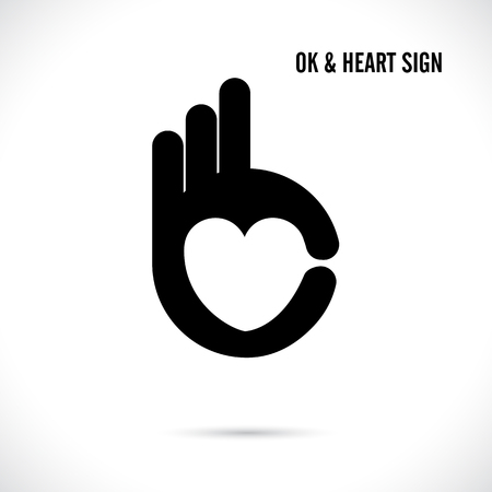 ok: Creative hand and heart shape abstract logo design.Hand Ok symbol icon.Corporate business creative logotype symbol.Vector illustration Illustration