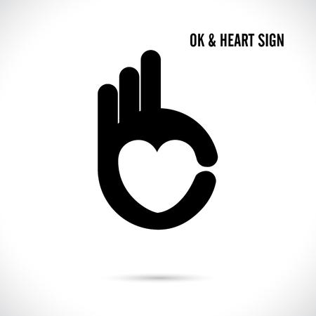 symbol: Mano creatrice e cuore forma astratta logo design.Hand Ok simbolo icon.Corporate affari logotipo creativo symbol.Vector illustrazione
