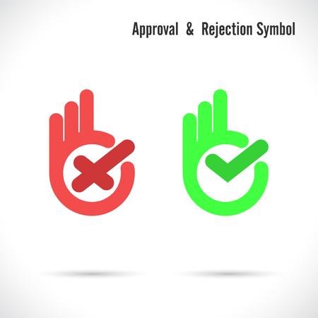 at symbol: Mano e moderno segno di spunta icon.Wrong e segno di spunta a destra icons.Ok disegno vettoriale symbol.Hand bene simbolo icona .Approval e rifiuto concetto.Illustrazione illustrazione