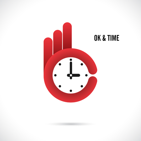 ok hand: Creative hand and clock shape abstract logo design.Hand Ok symbol icon.Corporate business creative logotype symbol.Vector illustration Illustration