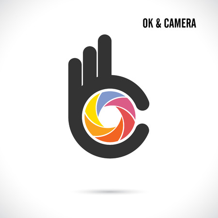 excellent: Creative hand and camera lens abstract logo design.Hand Ok symbol icon.Corporate business creative logotype symbol.Vector illustration