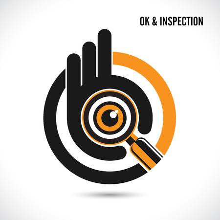 Creative hand with searching and looking for talent.Hand Ok symbol icon.Searching and inspection concept.Vector illustration