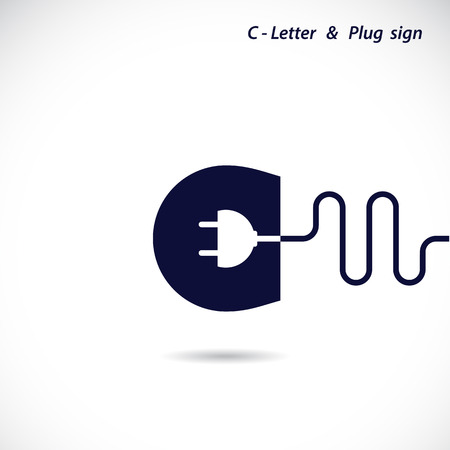 Creative C-letter icon abstract logo design vector template with electrical plug symbol. Corporate business creative logotype symbol. Vector illustration