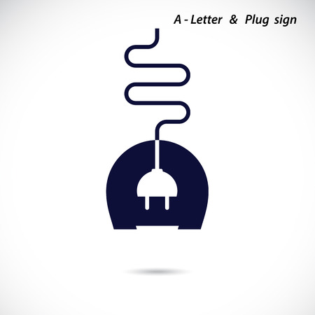 voltages: Creative A- letter icon abstract logo design vector template with electrical plug symbol. Corporate business creative logotype symbol. Vector illustration
