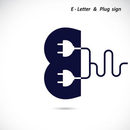 voltages: Creative E- letter icon abstract logo design vector template with electrical plug symbol. Corporate business creative logotype symbol. Vector illustration