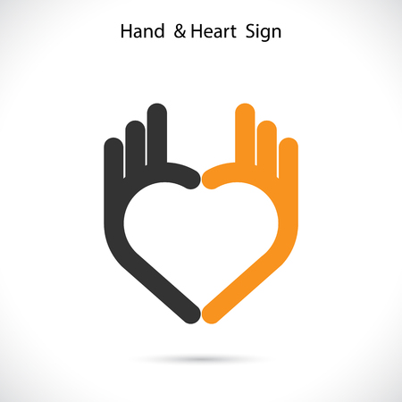 Creative hand and heart shape abstract logo design.Hand Ok symbol icon.Corporate business creative logotype symbol.Vector illustration Çizim