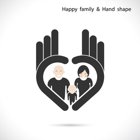 ok icon: Hand icon and happy family concept. Hand Ok symbol icon.Corporate business creative logotype symbol.Vector illustration