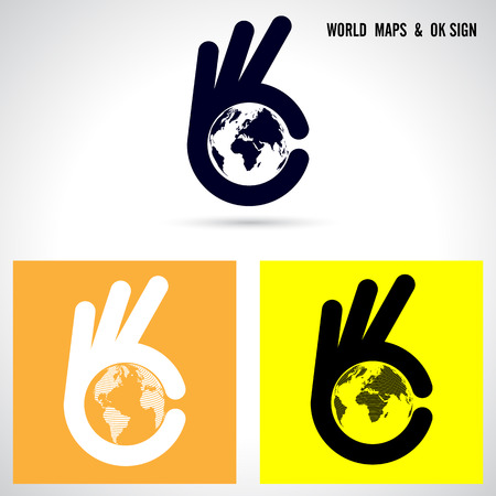 Creative hand and world map abstract logo design.Hand Ok symbol icon.Corporate business creative logotype symbol.Vector illustration Illustration