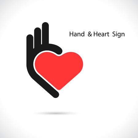 ok symbol: Creative hand and heart shape abstract logo design.Hand Ok symbol icon.Corporate business creative logotype symbol.Vector illustration Vettoriali