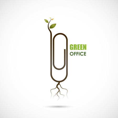 go green logo: Creative paper clip logo design. Save the World and Go Green Concept.Green office design.Business and Education concept.Vector illustration
