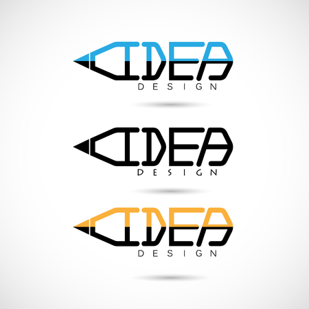 ideograph: Creative pencil logo design.Concept of ideas inspiration, innovation, invention, effective thinking, knowledge. Business and Education concept.Vector illustration Illustration